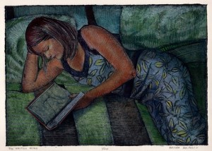 a collagraph print of a woman laying on pillows in a bed, reading a book