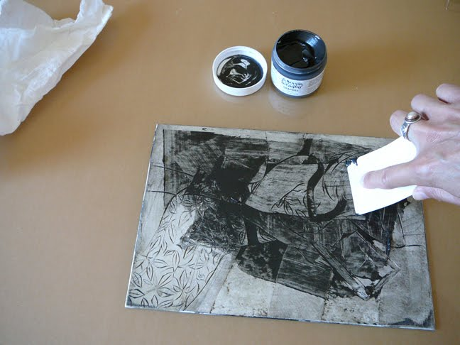 applying ink to a collagraph plate