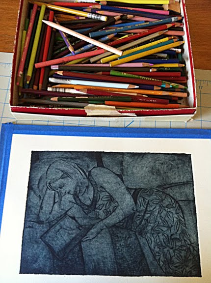 Adding colored pencils to a figurative collagraph print