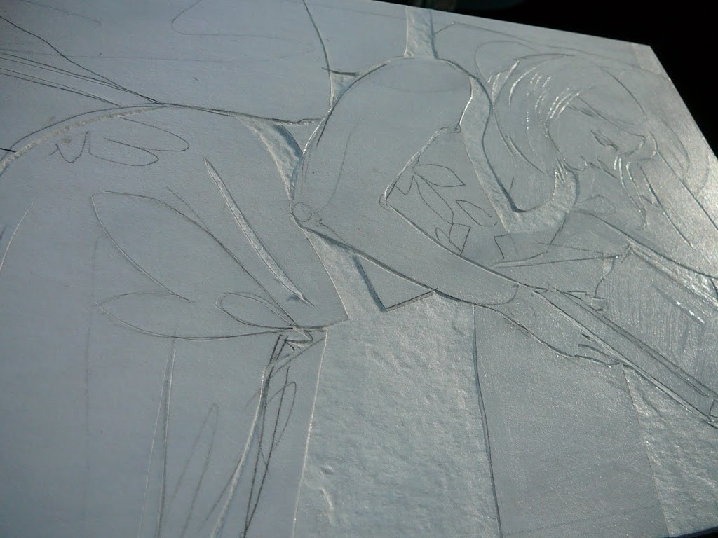a figurative collagraph print in process,