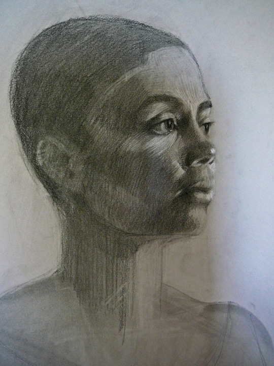 a charcoal portrait of a model named Lury done at a Daniel Sprick portrait workshop
