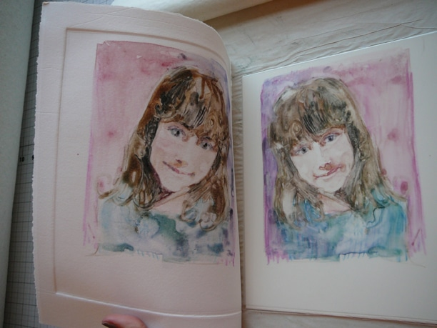 watercolor monotype portrait in process by Belinda Del Pesco