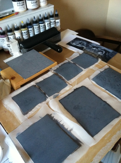 silk aquatint plate making in process