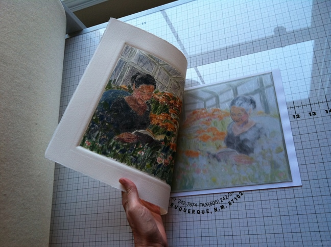 a light field monotype of a woman reading a book in a greenhouse