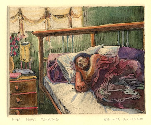a monotype of a sleeping figure in bed