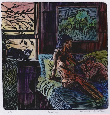 Linocut of a nude woman in bed, reaching for a sleeping man