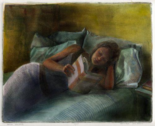 drypoint etching of a reclining woman reading a book