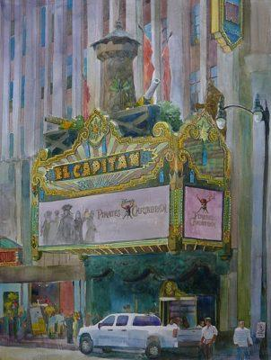 the El Capitan theater in watercolor