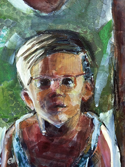 a little boy's face wearing glasses created as a portrait colllage