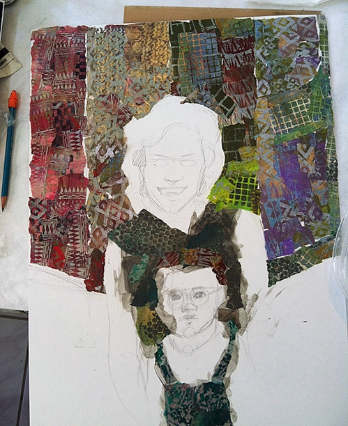 a portrait collage in process with torn paper tissue on illustration board