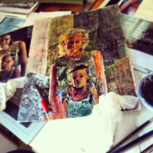 A collaged Portrait made from a vintage family photo using torn paper and ink and stamps and paint