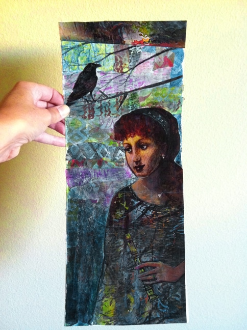 portrait collage ideas - a woman standing in a forest with a flute and a crow watching over her