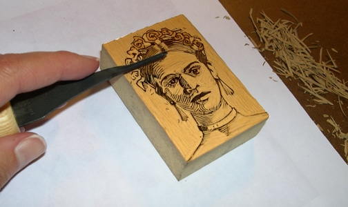 miniature linocut portraits