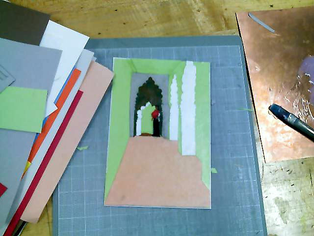 collagraph plate building using kid grade construction paper and acrylic gloss medium