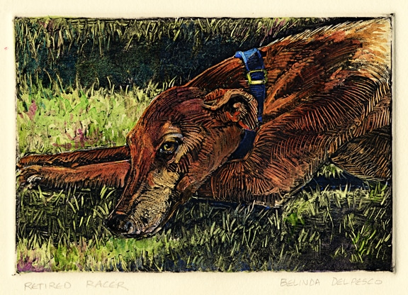 monotype print of a greyhound dog