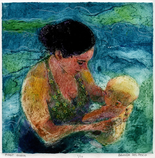 collagraph print of a young woman with an Enfant in a swimming pool