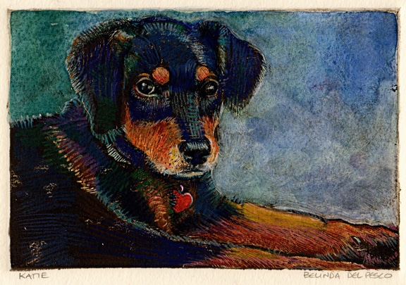 dark field monotype pet portrait of a puppy