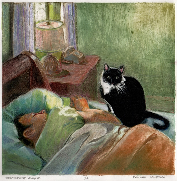a collagraph portrait of a sleeping man with a cat sitting next to him, titled Breakfast Alarm, by Belinda Del Pesco