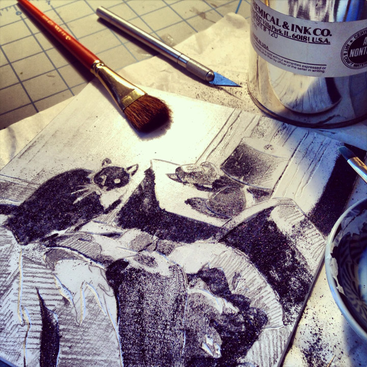 using aluminum oxide, or carborundum grit in a #120 granule size to add texture to a mat board collagraph plate