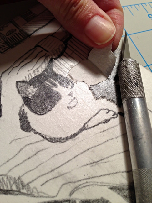 making a mat board collagraph portrait of a cat