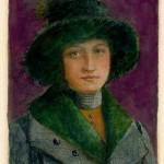 monotype ghost print with watercolor of a vintage girl in a heavy coat and a rimmed hat