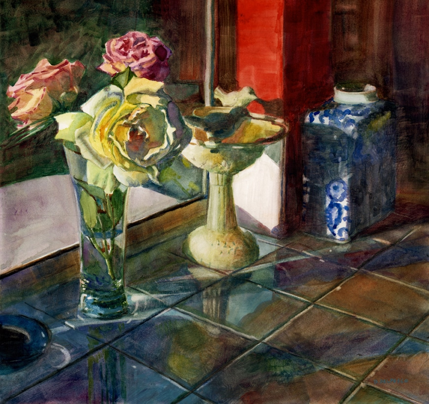 a watercolor painting of a floral still life on a tiled kitchen counter with reflection of the flowers
