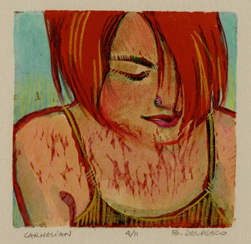 A woodcut of a red headed woman looking down with hair over her eyes