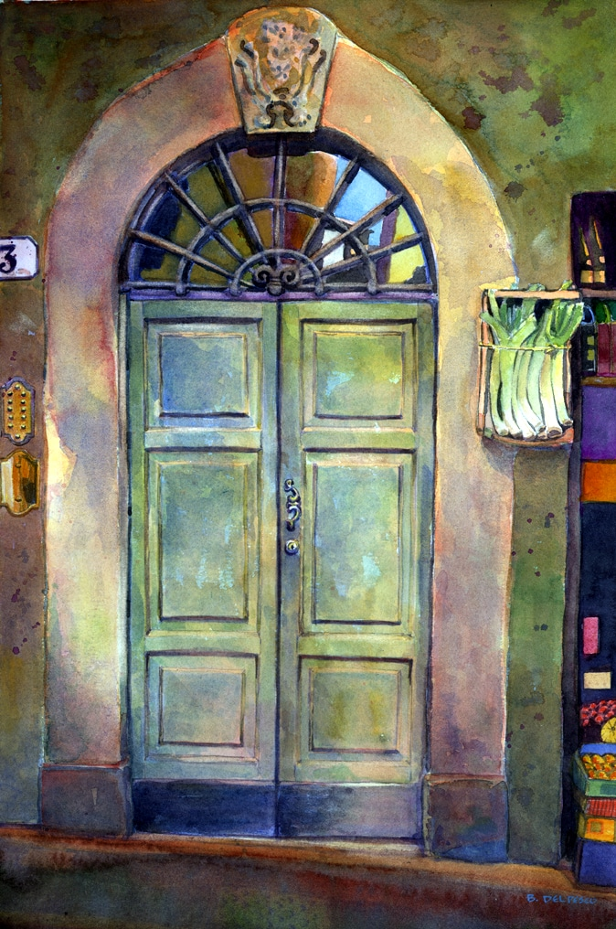 Merveilleux Watercolor: Italian Door With Leeks (u0026 Why Do People Like Images Of Doors?)