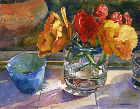 Watercolor painting of ranunculus flowers on a sunny windowsill by Belinda Del Pesco
