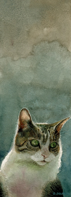 a pet portrait in watercolor, featuring the same model, Jack, the tabby cat who chews flowers
