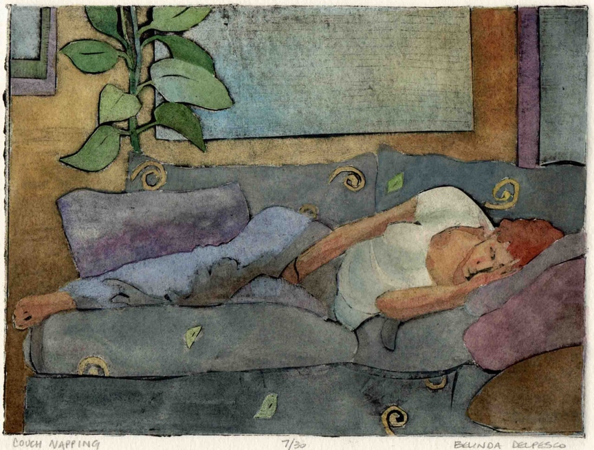 a collagraph print of a woman napping on a couch
