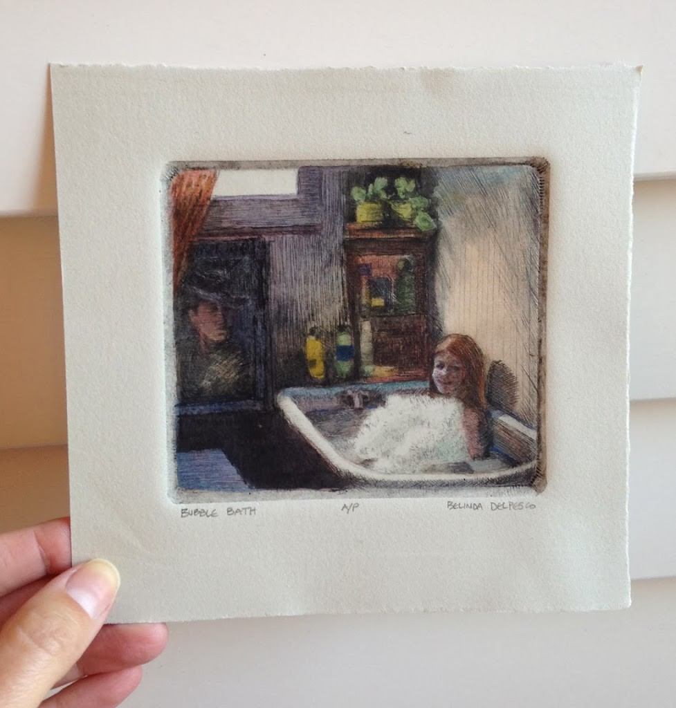 an artist's proof drypoint print of a girl on a bathtub, painted with watercolors