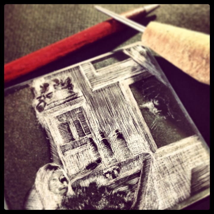 using a sharp stainless scribe to engrave plexiglass to make a drypoint print