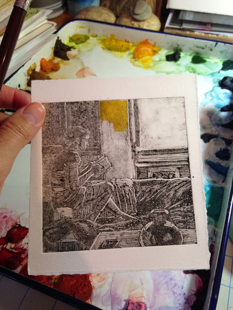 painting a monotype ghost print