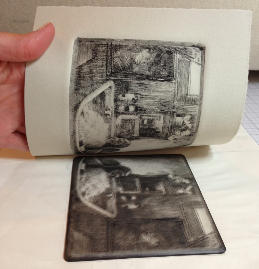 after a trip through the press, a drypoint pint is pulled from the inked and wiped plate, revealing a girl in a bath tub
