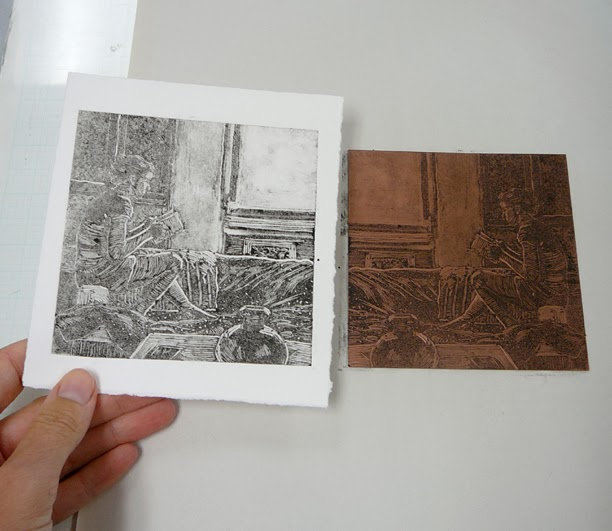 a monotype ghost print of a woman reading a book, in profile, next to the copper plate it was printed from