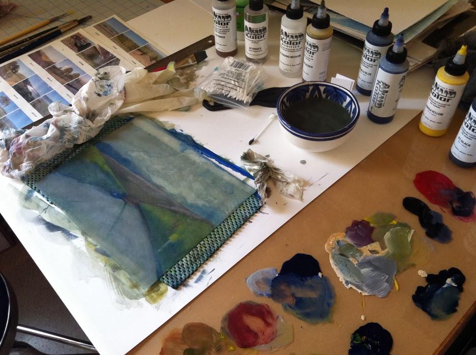 making a landscape color monotype