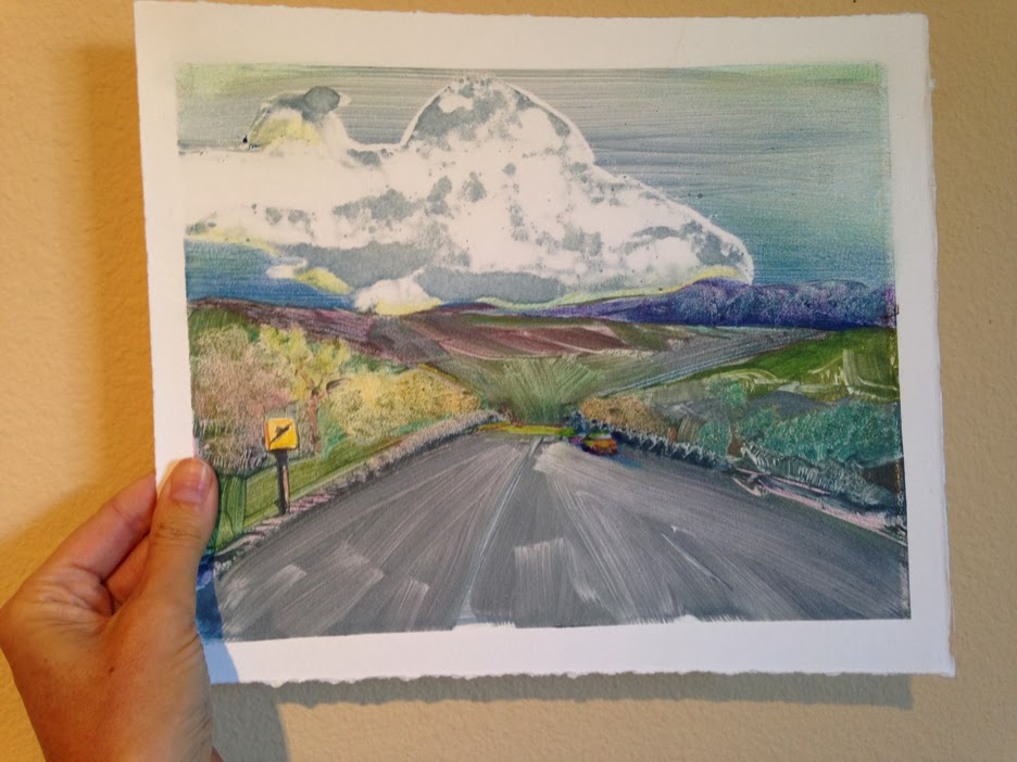 a California landscape monotype printed on arches 88 printmaking paper by Belinda Del Pesco