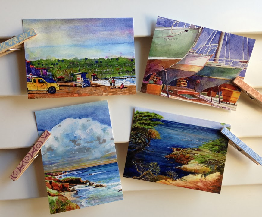 postcards of coastal scenery in watercolor