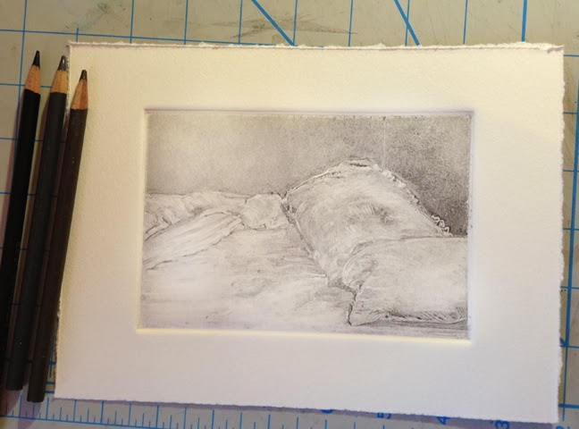 a monotype ghost print of a bed and pillows