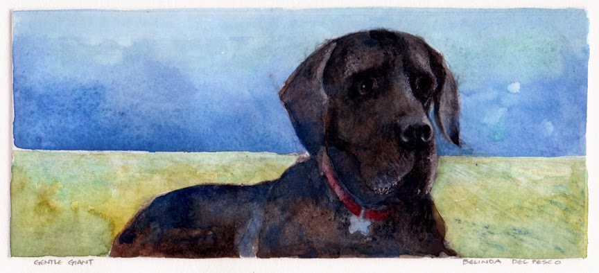 a monotype of a black great dane dog sitting on a lawn with a red collar on in three quarter profile