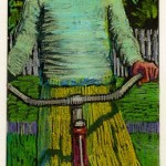 colored pencil and dark field monotype portrait of a girl on a bike in a vintage style