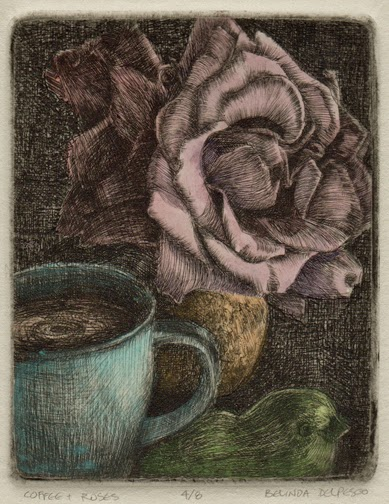 a drypoint on plexiglass print of a rose, a bird and a cup of coffee