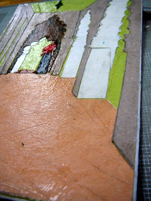 a matboard collagraph plate up close