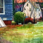 watercolor painting of a back yard in new england with a bulkhead under a window on a clapboard house