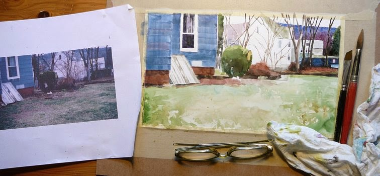 a watercolor painting in process showing the beg8innings of a house and yard with a bulkhead and shrubbery
