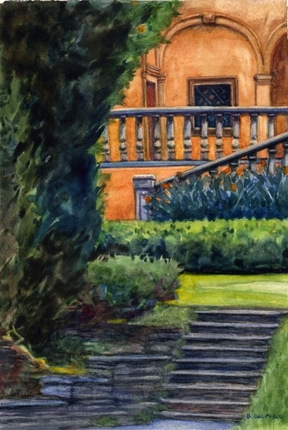 A watercolor painting of the girl's school Alverno in Altadena, California