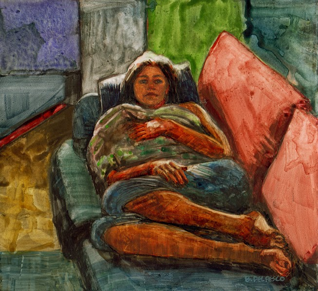 water-soluble-graphite-portrait of a girl laying on a couch, with watercolor added