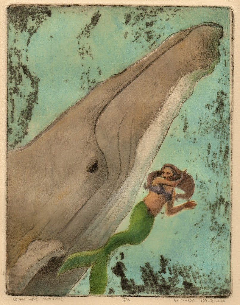 a mermaid and a whale swimming together, made by printing a drypoint etching on top of a collagraph print