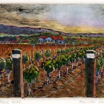 a monotype landscape of vintner's fields with rows of grapes
